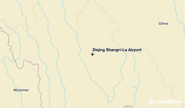 Diqing Shangri-La Airport location on a map