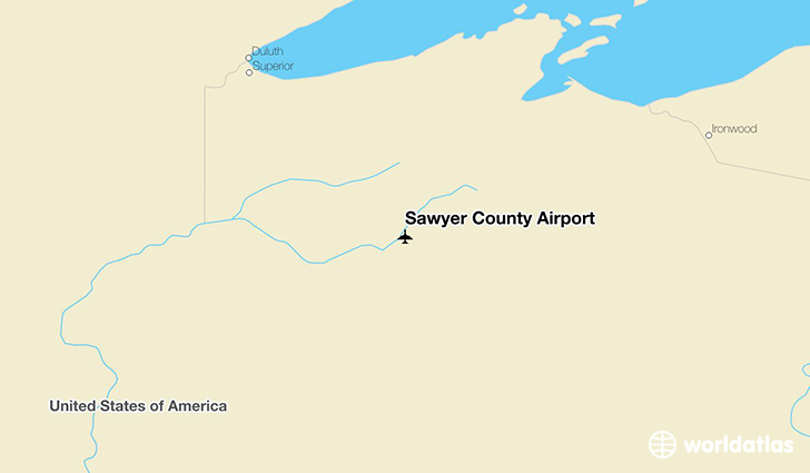 Sawyer County Airport location on a map