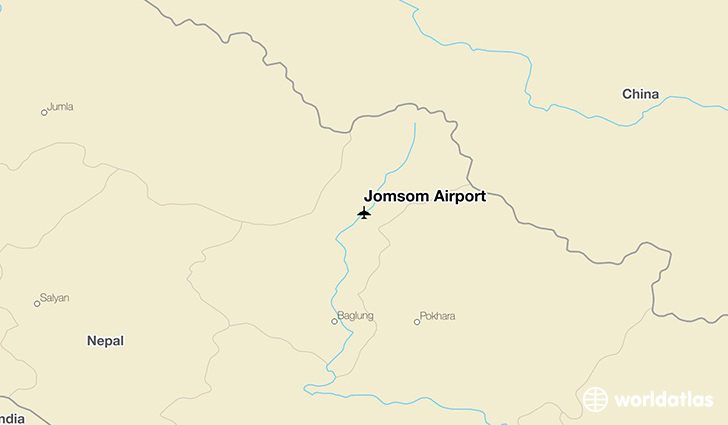 Jomsom Airport location on a map