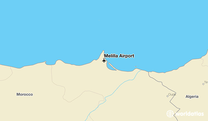 Melilla Airport location on a map