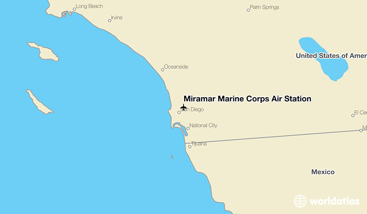 Miramar Marine Corps Air Station location on a map