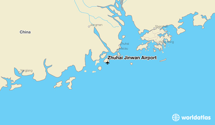 Zhuhai Jinwan Airport location on a map