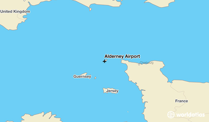 Alderney Airport location on a map