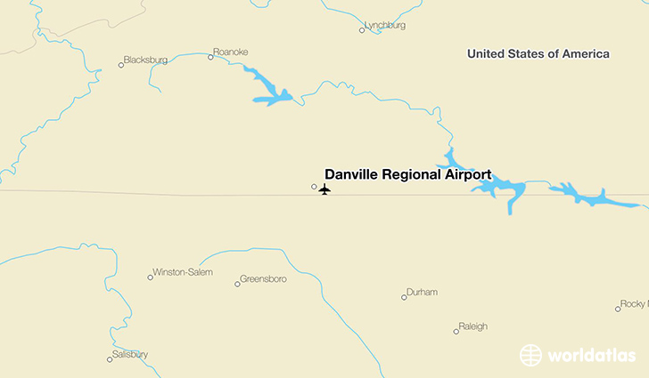 Danville Regional Airport location on a map