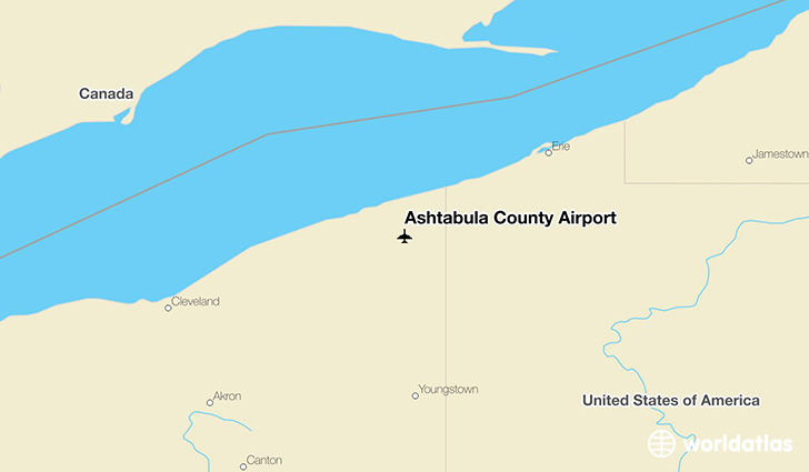 Ashtabula County Airport location on a map