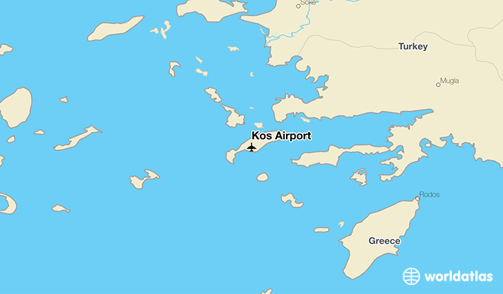 Kos Airport location on a map