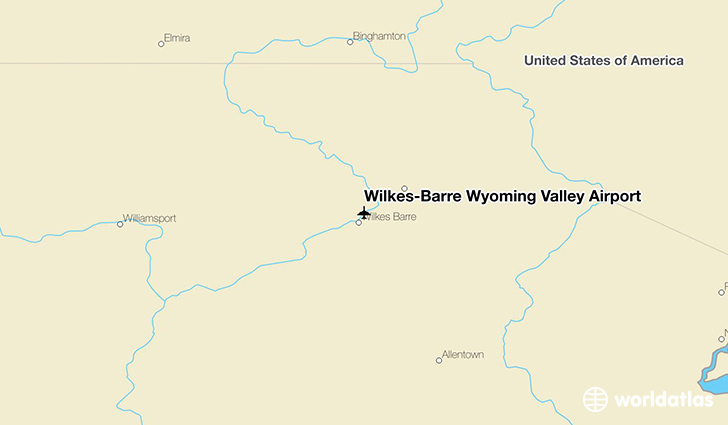 Wilkes-Barre Wyoming Valley Airport location on a map