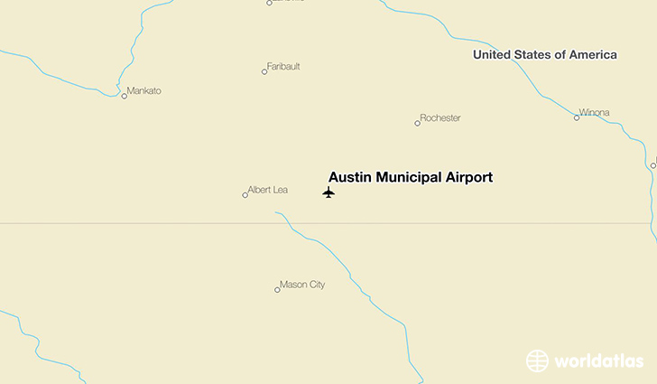 Austin Municipal Airport location on a map