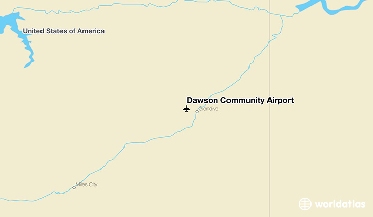 Dawson Community Airport location on a map