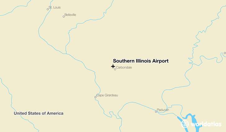 Southern Illinois Airport location on a map
