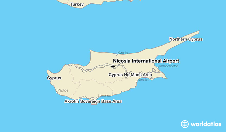 Nicosia International Airport location on a map