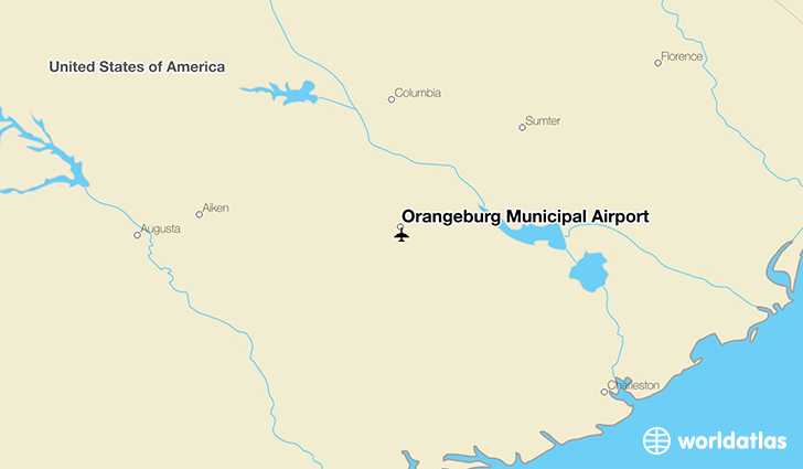Orangeburg Municipal Airport location on a map