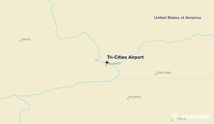 Tri-Cities Airport location on a map