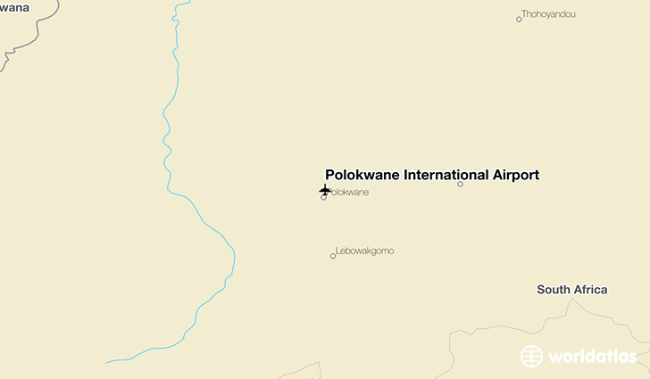 Polokwane International Airport location on a map