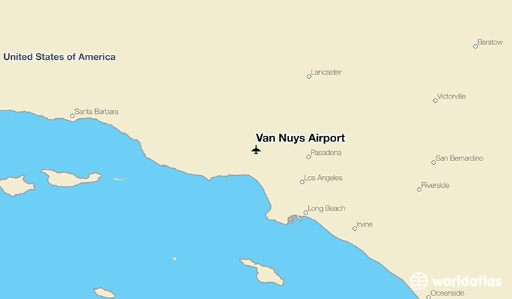 Van Nuys Airport location on a map