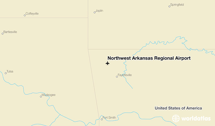 Northwest Arkansas Regional Airport location on a map