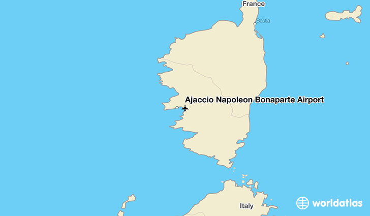 Ajaccio Napoleon Bonaparte Airport location on a map