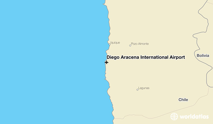 Diego Aracena International Airport location on a map