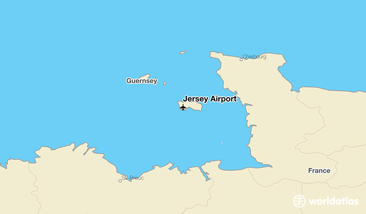 Jersey Airport location on a map