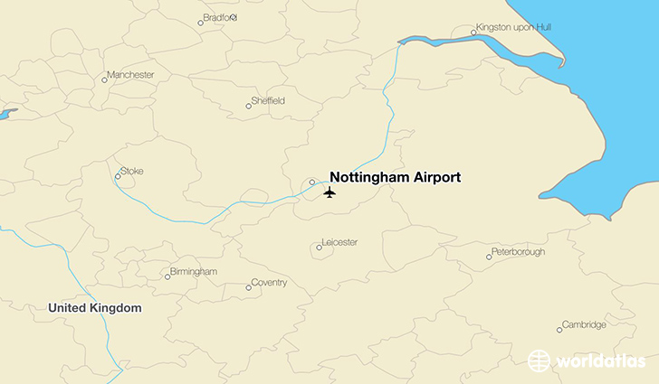 Nottingham Airport location on a map