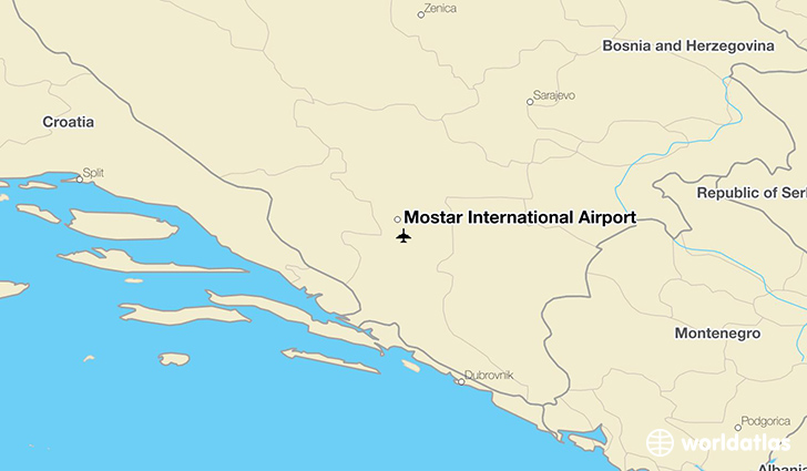 Mostar International Airport location on a map