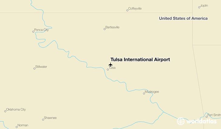 Tulsa International Airport location on a map