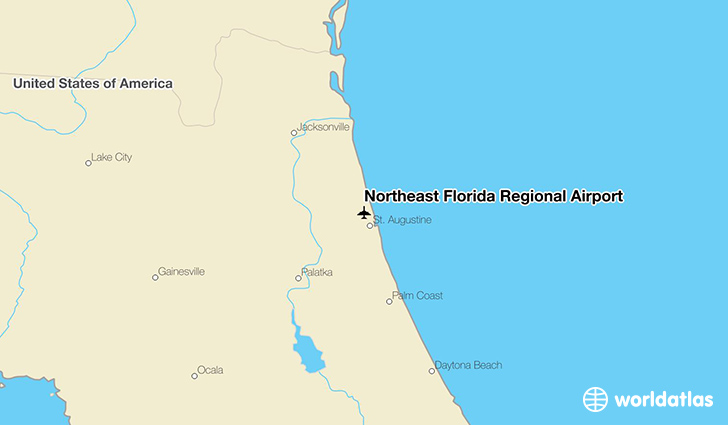 Northeast Florida Regional Airport location on a map