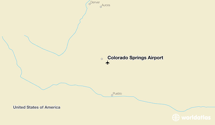 Colorado Springs Airport location on a map