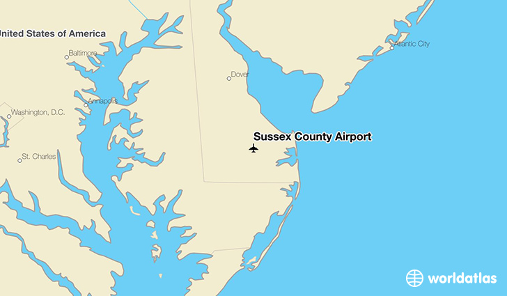 Sussex County Airport location on a map