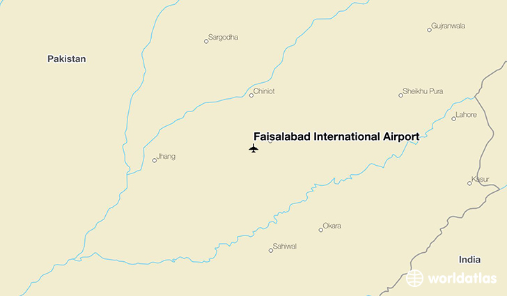 Faisalabad International Airport location on a map