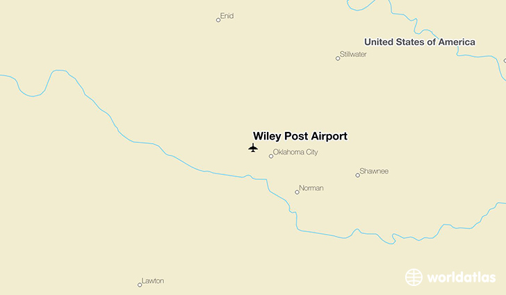 Wiley Post Airport location on a map