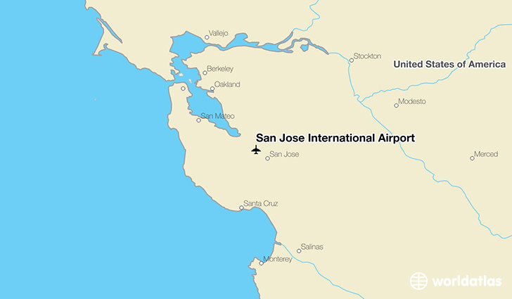 San Jose International Airport location on a map