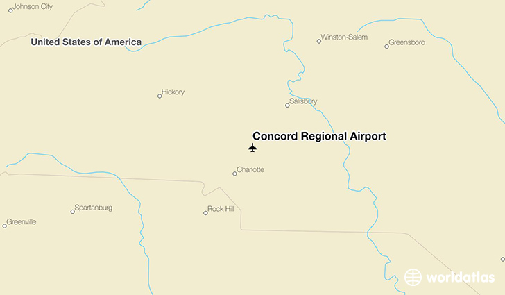 Concord Regional Airport location on a map