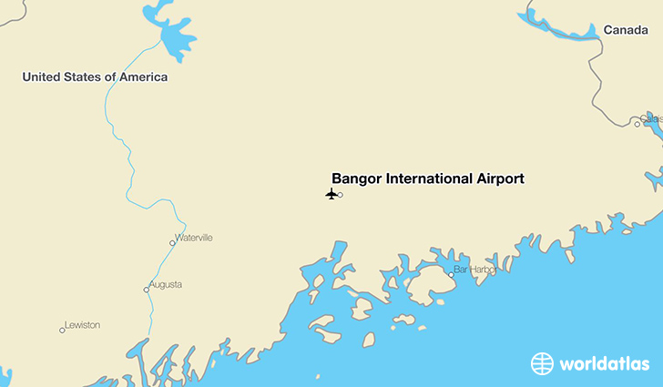 Bangor International Airport location on a map