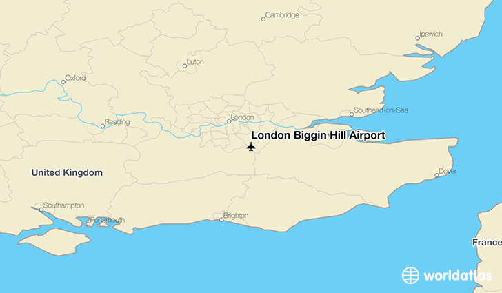 London Biggin Hill Airport location on a map