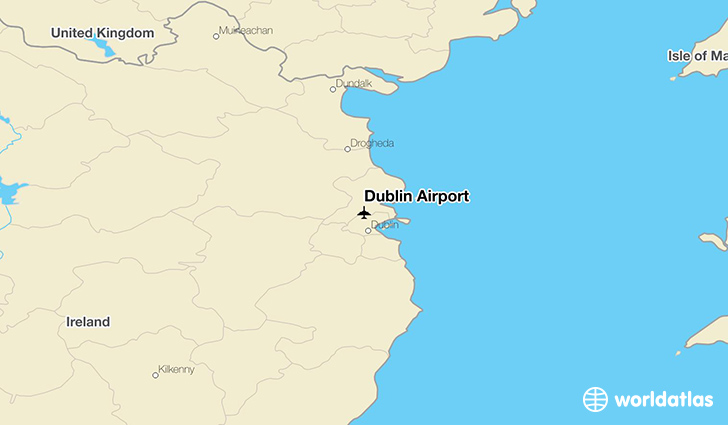 Dublin Airport location on a map
