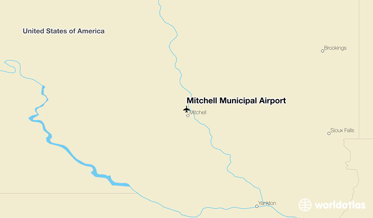 Mitchell Municipal Airport location on a map