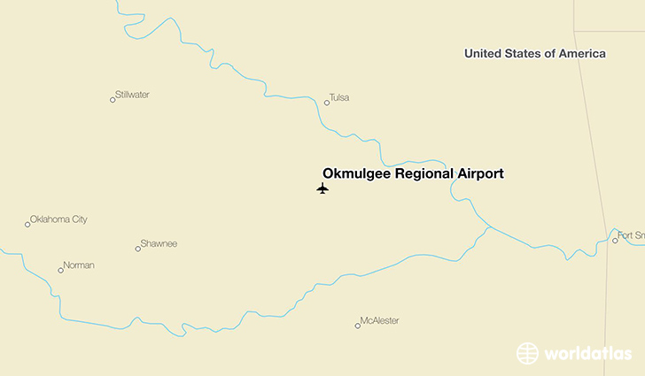 Okmulgee Regional Airport location on a map