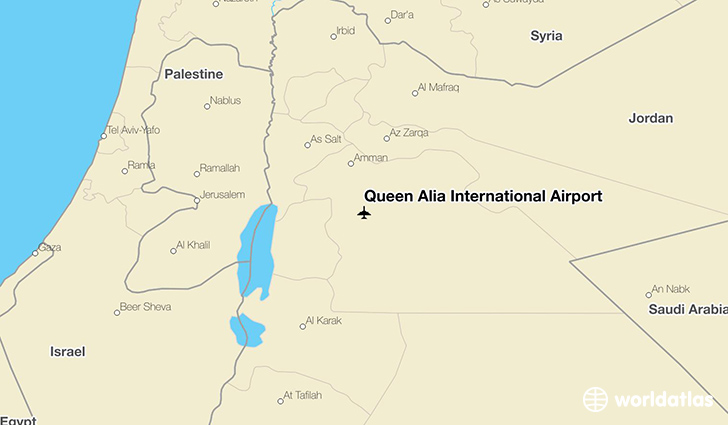 Queen Alia International Airport location on a map