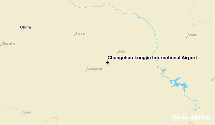 Changchun Longjia International Airport location on a map