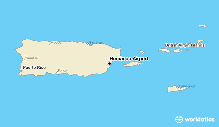 Humacao Airport location on a map