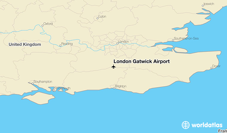 London Gatwick Airport location on a map