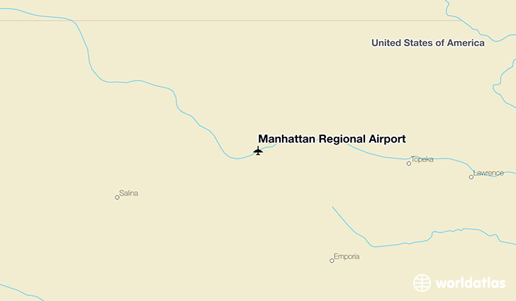 Manhattan Regional Airport location on a map