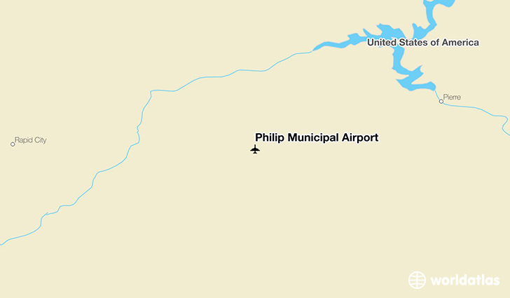 Philip Municipal Airport location on a map
