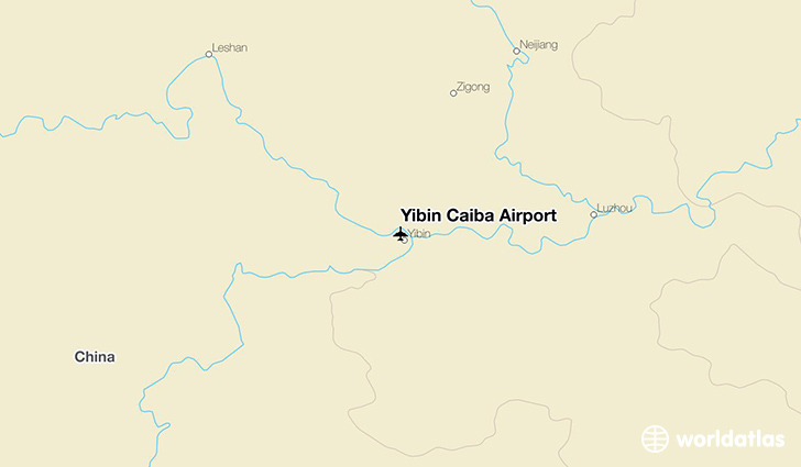 Yibin Caiba Airport location on a map