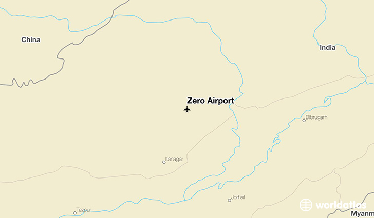 Zero Airport location on a map