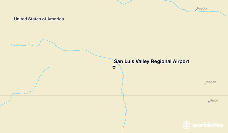 San Luis Valley Regional Airport location on a map