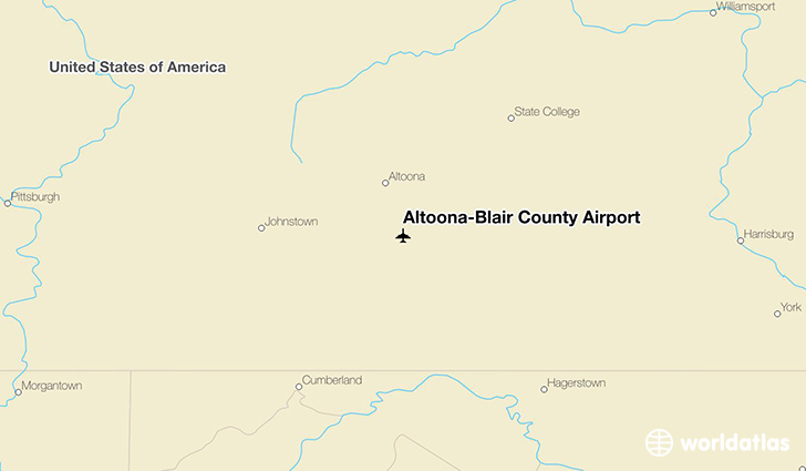 Altoona-Blair County Airport location on a map