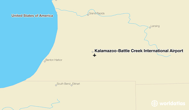 Kalamazoo-Battle Creek International Airport location on a map
