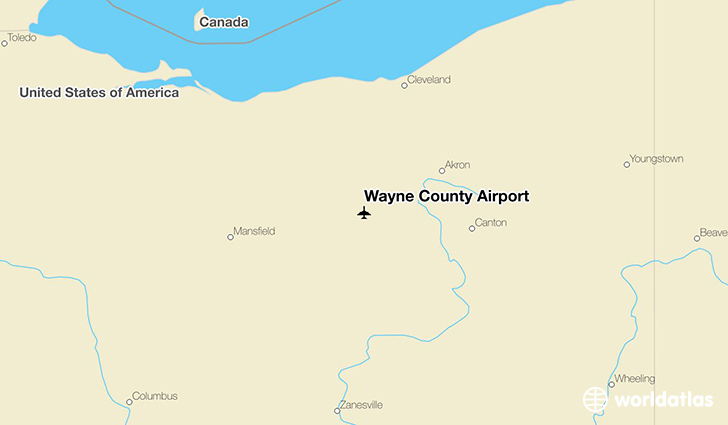 Wayne County Airport location on a map